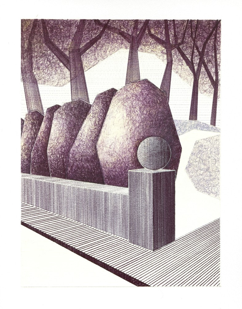 Charles Laib Bitton, La Résidence, 2014, Encre sur papier, 14x18cm