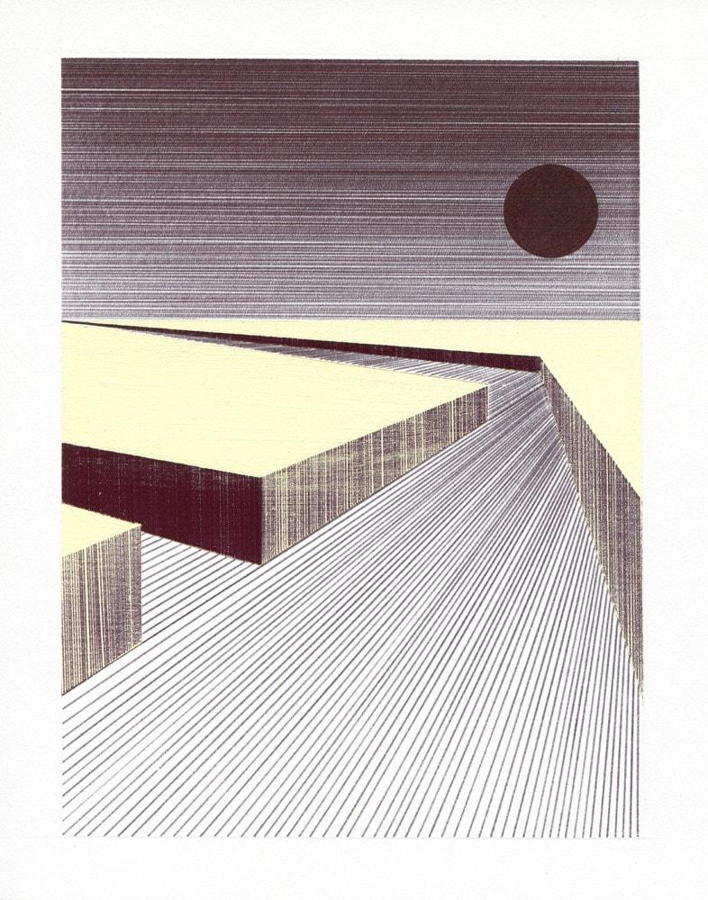 Charles Laib Bitton, Paysage Abstrait, 2013, Encre sur papier, 14x18cm