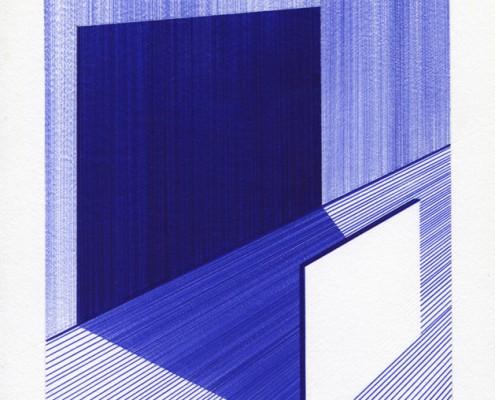 Charles Laib Bitton, Un Carré et son Ombre, 2013, Encre sur papier, 14x18cm