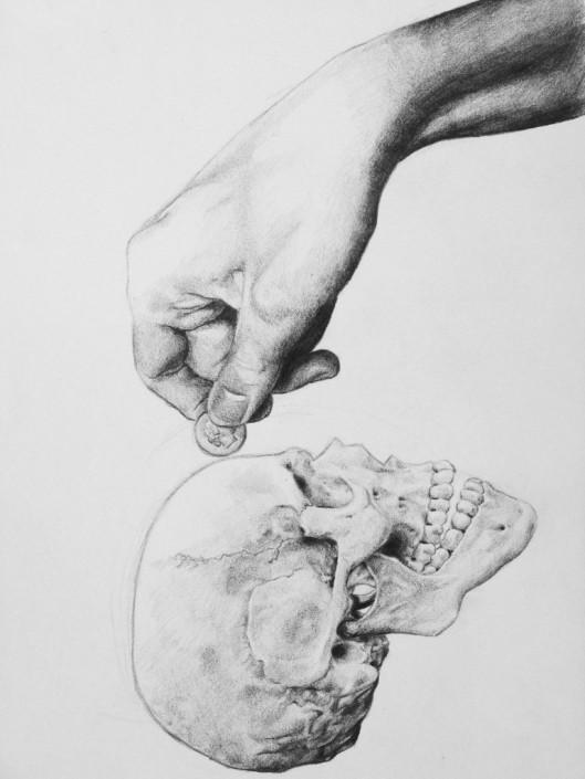 Nicolas Leignel, Crane 2, 2010, Fusain sur papier, 21x29.7cm