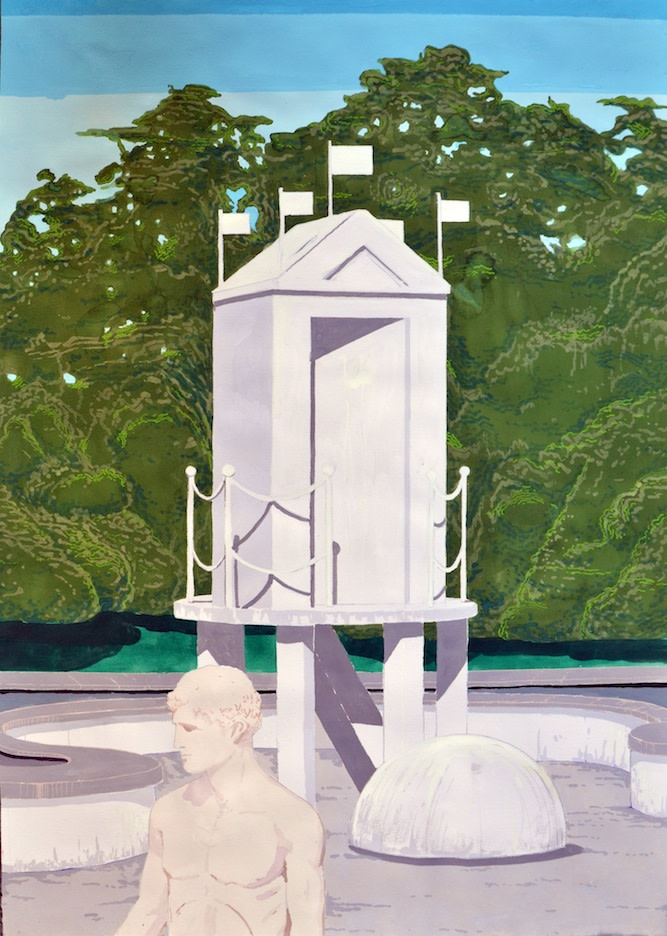 Antoine Carbonne, Mysterious Bath, 2014, gouache sur papier, 70 x 100cm
