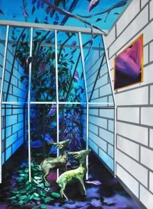 Marion Charlet, Deux biches à Miami, 2014, acrylique sur toile, 55 x 75 cm