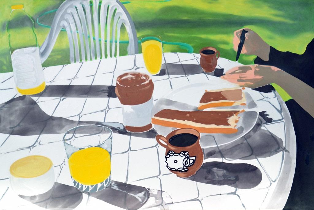 Antoine Carbonne, Petit Dej', 2012, huile sur toile, 195 x 132 cm, collection privée