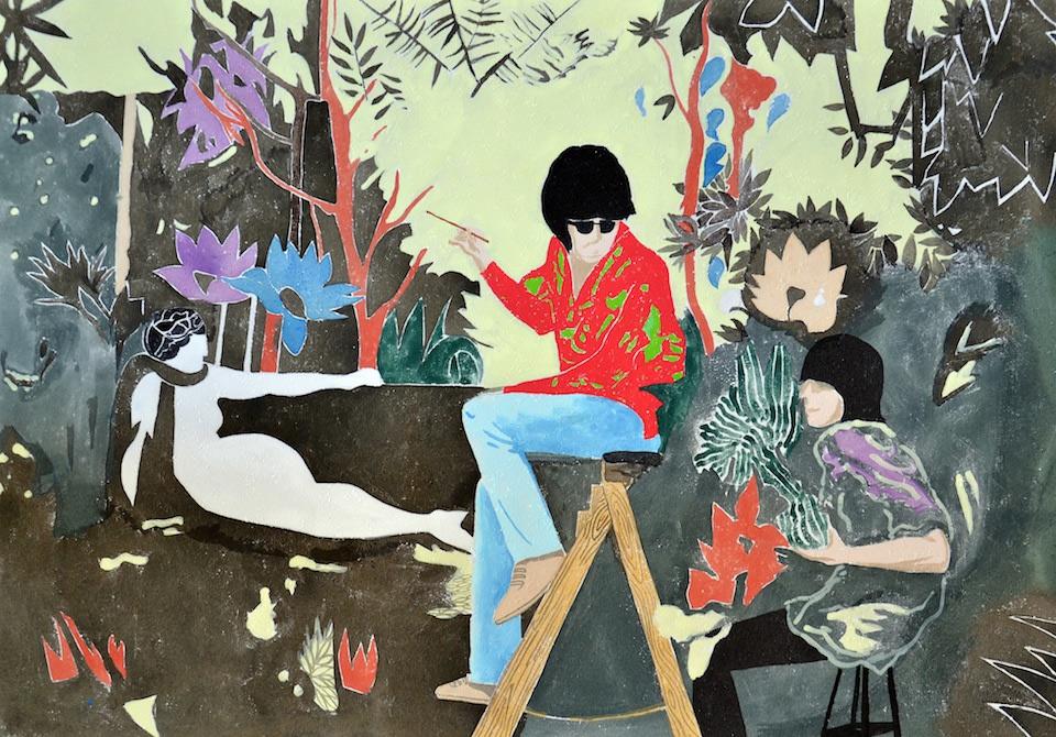 Antoine Carbonne, Kenzo, 2014, gouache sur papier, 100 x 70 cm