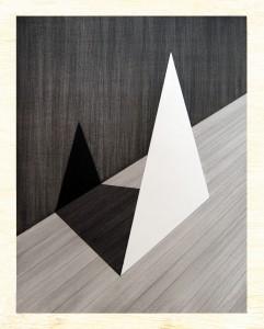 Charles Laib Bitton, Romantic Imagist Composition 1, 2014, fusain sur bois, 28x35cm