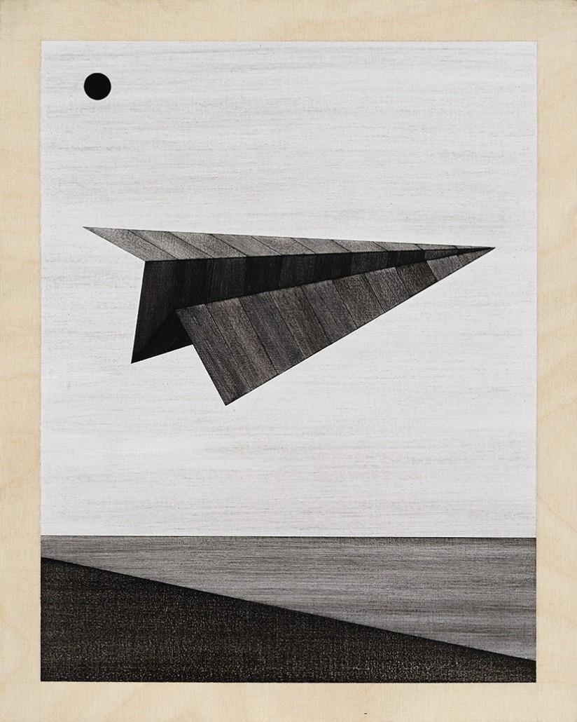 Romantic Imagist Composition 1, 2014, fusain sur bois, 28 x 35 cm