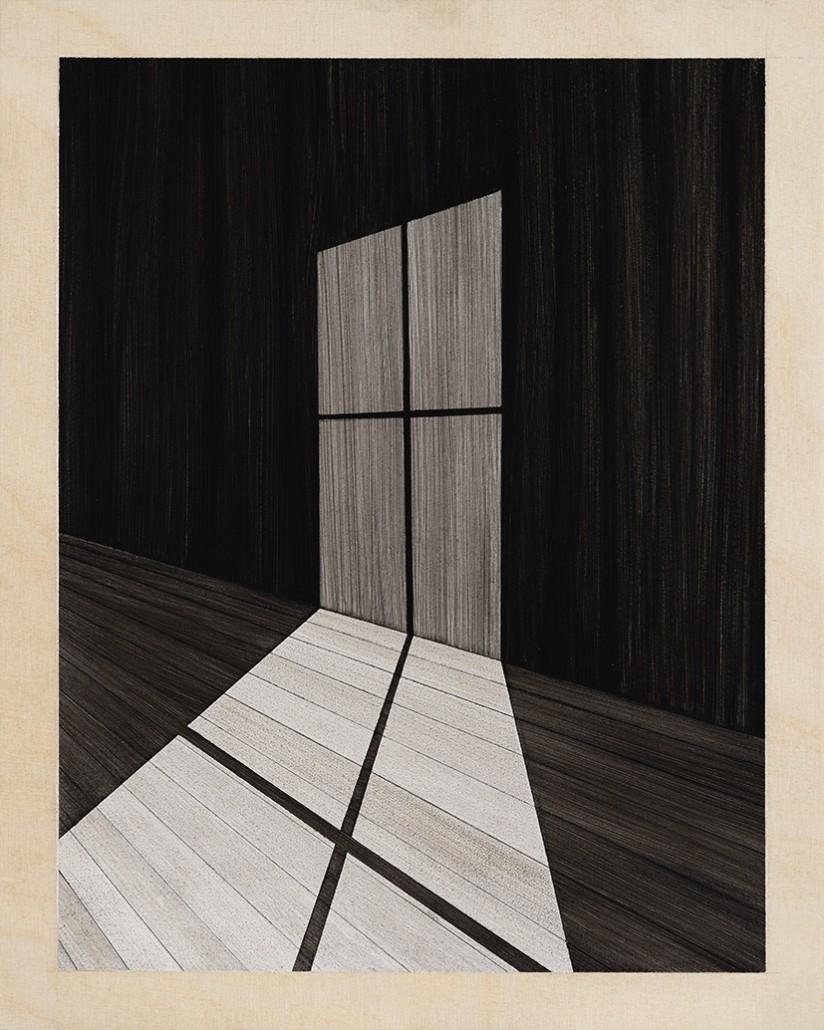 Charles Laib Bitton, Romantic Imagist Composition n°16, 2014, fusain sur bois, 28 x 35 cm