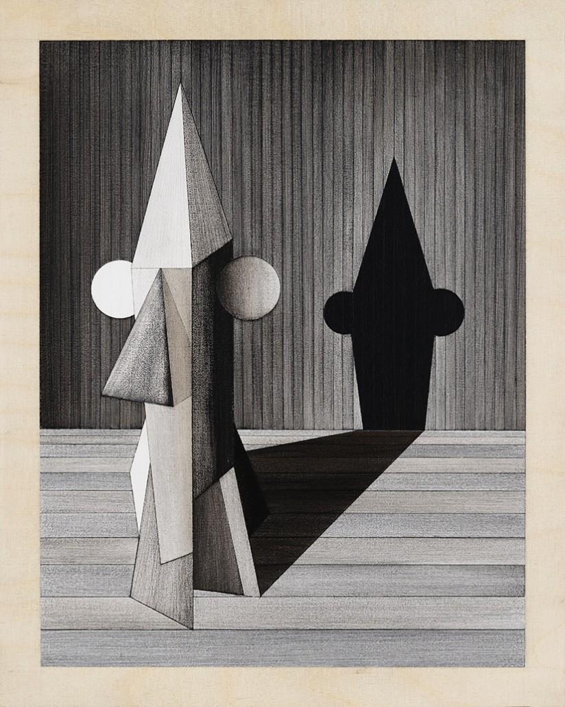 Charles Laib Bitton, Romantic Imaginst Composition n°2, 2014, Fusain sur bois, 28x35 cm