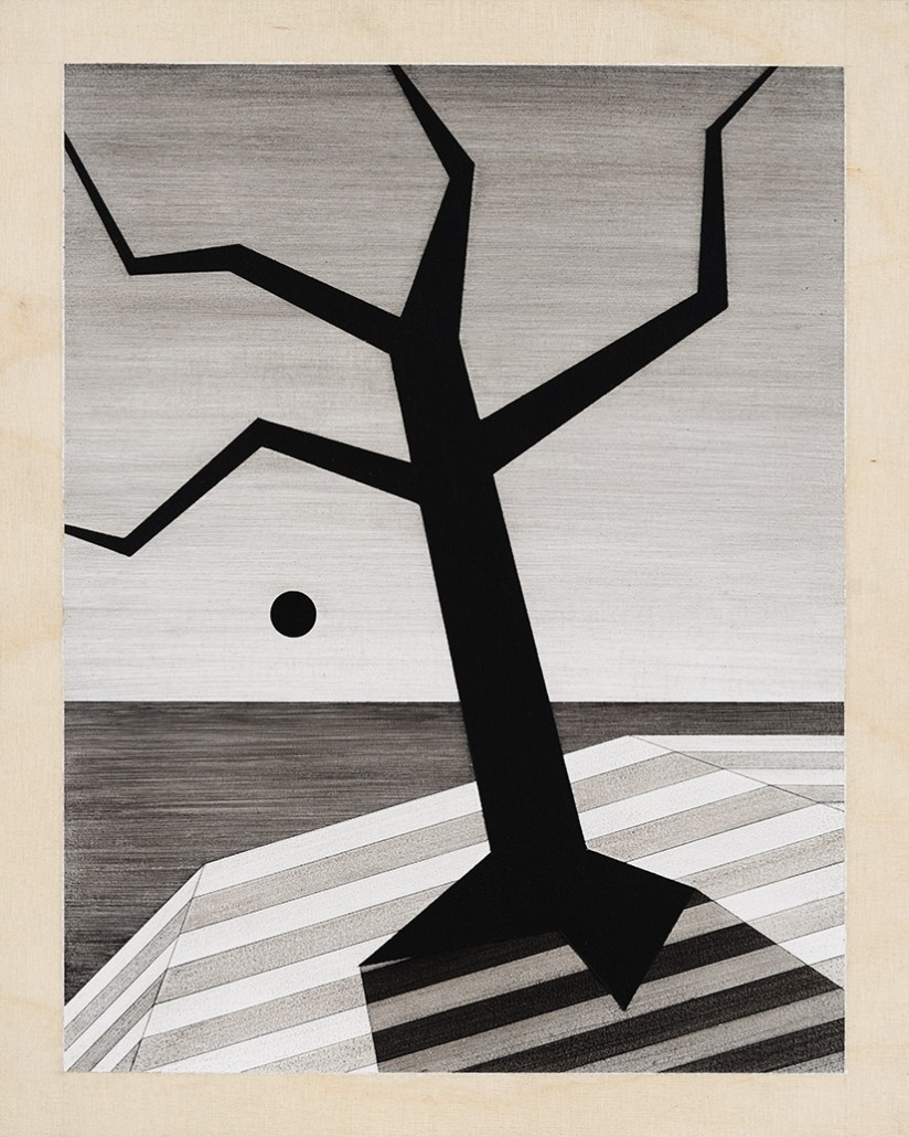 Charles Laib Bitton, Romantic Imagist Composition n°5, 2014, fusain sur bois, 28 x 35 cm