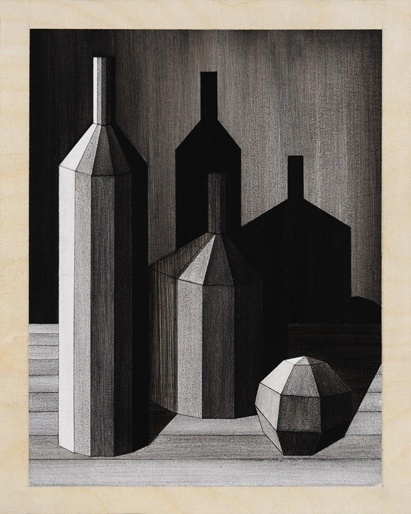 Charles Laib Bitton, Romantic Imagist Composition n°11, 2014, fusain sur papier, 28 x 35 cm