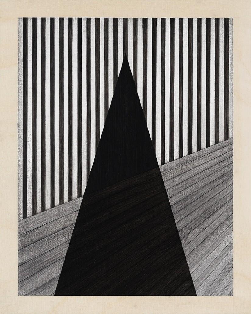 Charles Laib Bitton, Romantic Imagist Composition n°12, 2014, fusain sur bois, 28 x 35 cm