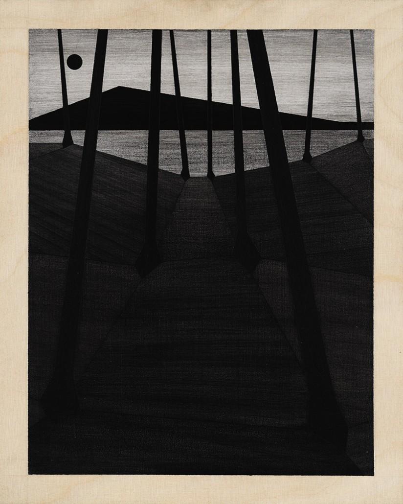 Charles Laib Bitton, Romantic Imagist Composition n°17, 2014, fusain sur bois, 28 x 35 cm
