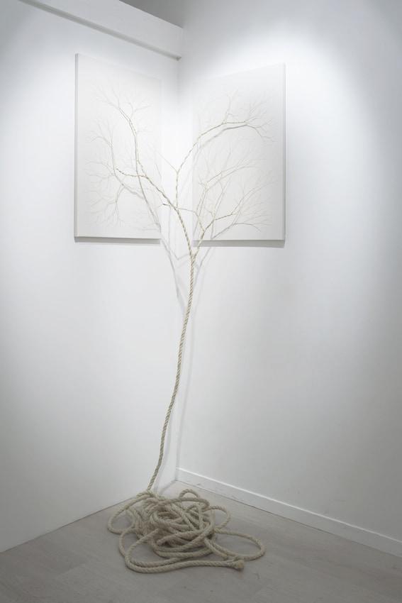 Janaina Mello Landini, Ciclotrama 25, 2015, 10 m de corde sisal cousue sur toile, 60 x 90cm x 2, diptyque