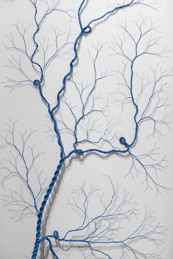 Janaina Mello Landini, Ciclotrama 24 (détail), 2015, 20m de corde en nylon sur toile, 70 x 180cm
