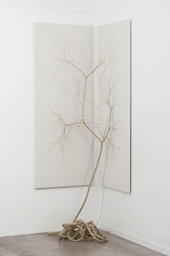 Janaina Mello Landini, Ciclotrama 23, 2015, 15m de corde sisal cousue sur toile, 70 x 180cm (x2) diptyque