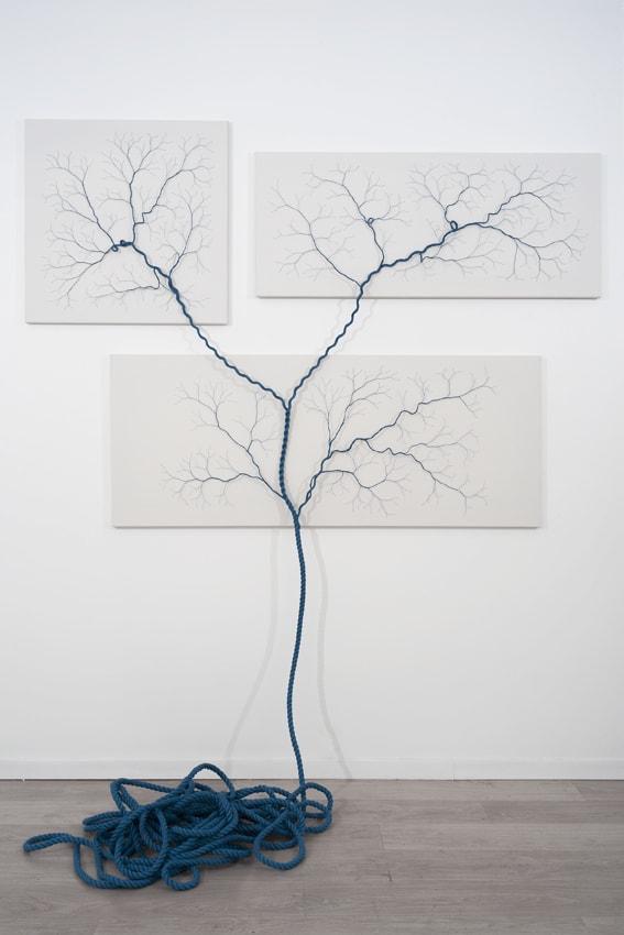 Janaina Mello Landini, Ciclotrama 26, 2015, 15m de corde en nylon cousue sur toile, 70x70cm + 120x50cm + 150x60cm (1,4 m x 2m au total), triptyque