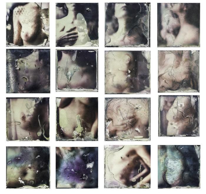 Margherita Chiarva, Transfert TR 0 (Composition of a woman), 2015, 22 x 22 cm each (16 frames) total 90 x 90cm