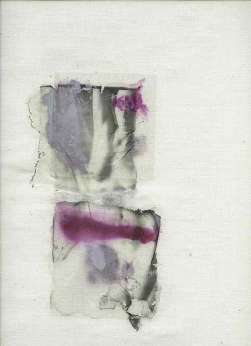 Margherita Chiarva, Untitled Transfert TR 12, polaroid transfert on cotton, gauze fabric, mixed with tempera and ink, 40 x 50cm