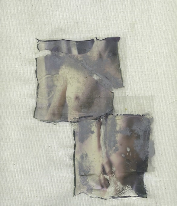 Margherita Chiarva, Untilted TR 15, polaroid transfert on cotton, gauze fabric, mixed with tempera and ink, 40 x 50cm