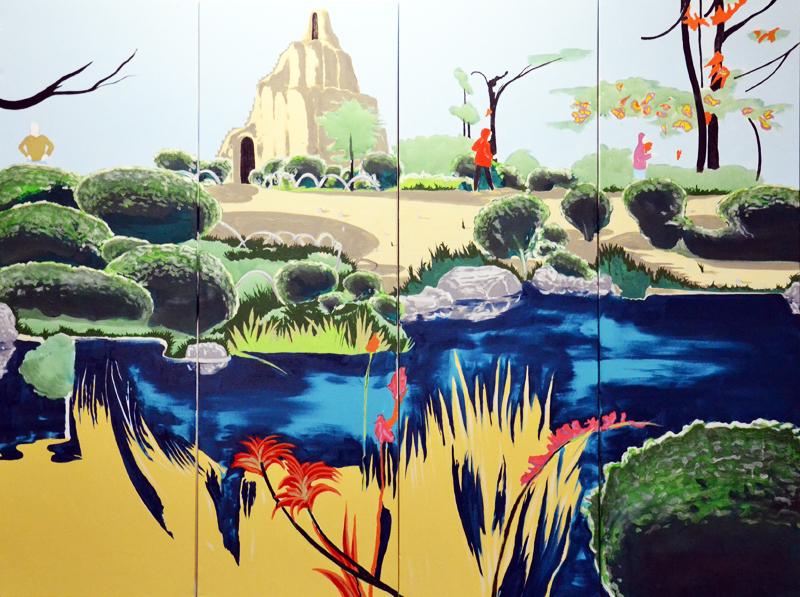Antoine Carbonne, Cache-cache, 2016, huile sur toile, 200 x 160 cm , 4 panneaux