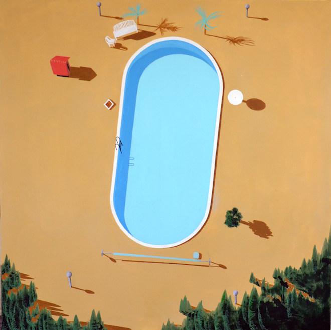 Antoine Carbonne, Falling, 2015, huile sur toile, 200 x 200 cm, collection privée