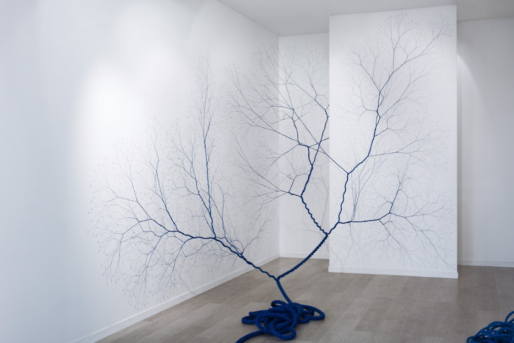 Janaina Mello Landini, Ciclotrama 27, 2015, 25m nylon rope and 2 500 nails, installation in situ, Galerie Virginie Louvet