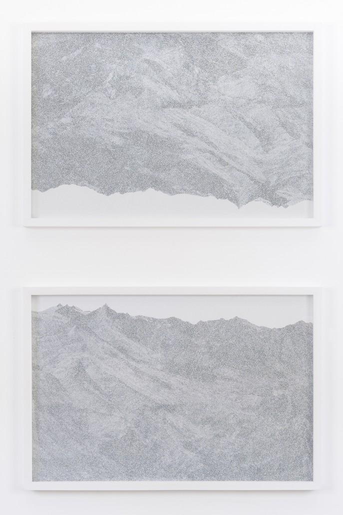 Giulia Manset, Reflet 1, 2016, feutre sur photographie, 77 x 52 cm chaque dessin