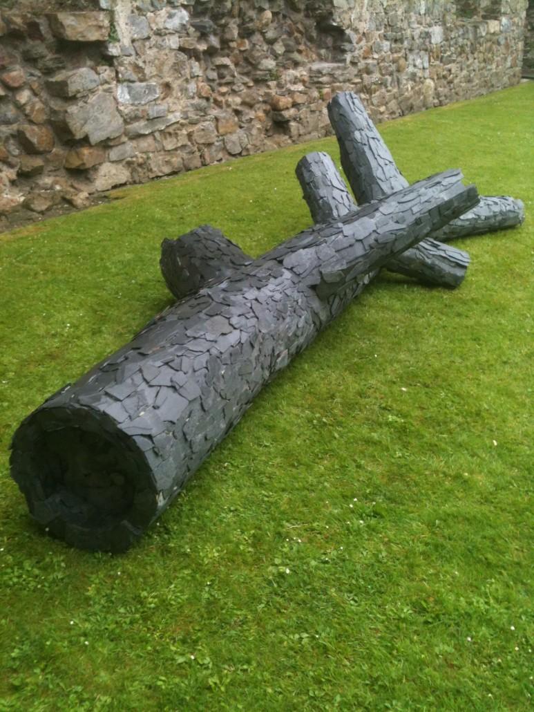 Alan Goulbourne, Apoptosis, 2012, slate and wood, 400 x 50 x 100cm