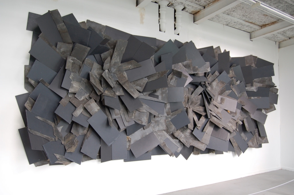 Alan Goulbourne, Slate Relief, 2010, natural and mixed slates, 735 x 305 x 61cm