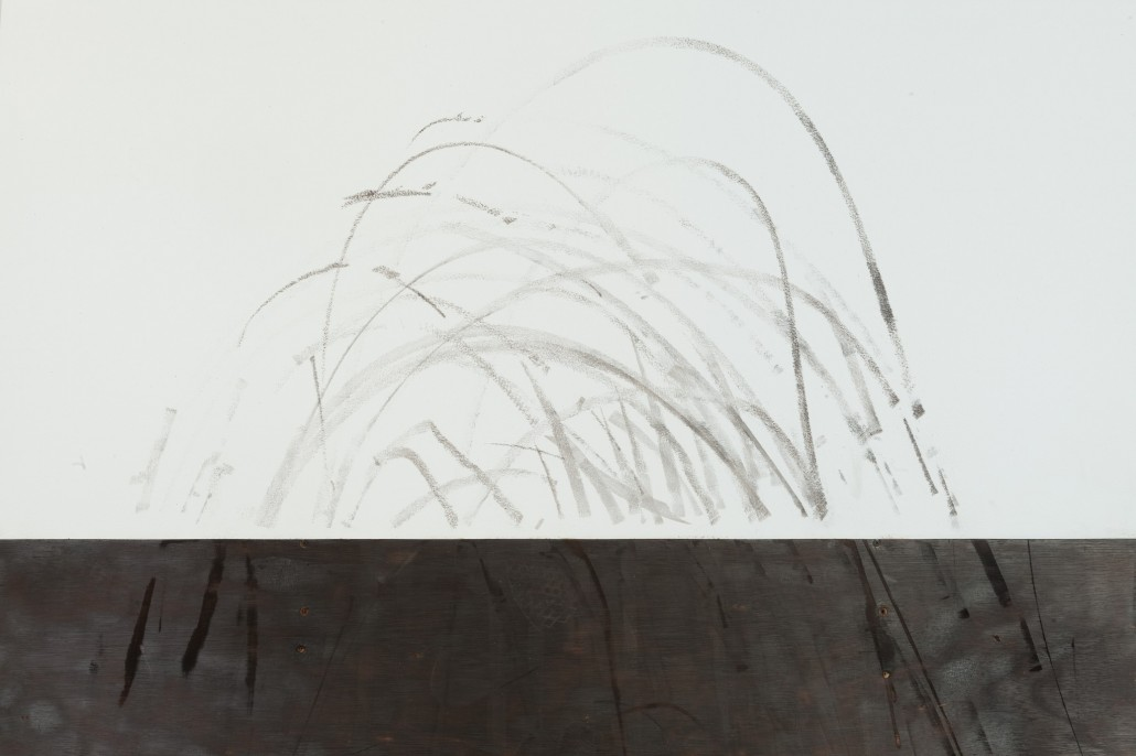 Camille Ayme, Ashes 2 Ashes, 2016, detail of the streaks left by a performer who came to skateboard on the quarter pipe.