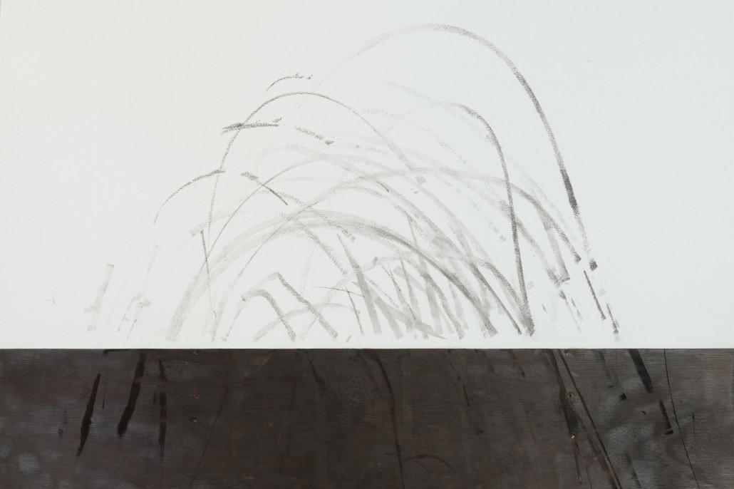 Camille Ayme, Ashes 2 Ashes (in situ), 2016, détail: traces d'un performeur ayant skaté sur le quarter pipe.