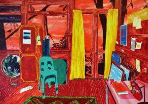Antoine Carbonne, L'atelier rouge, 2016, huile sur toile, 285 x 280 cm