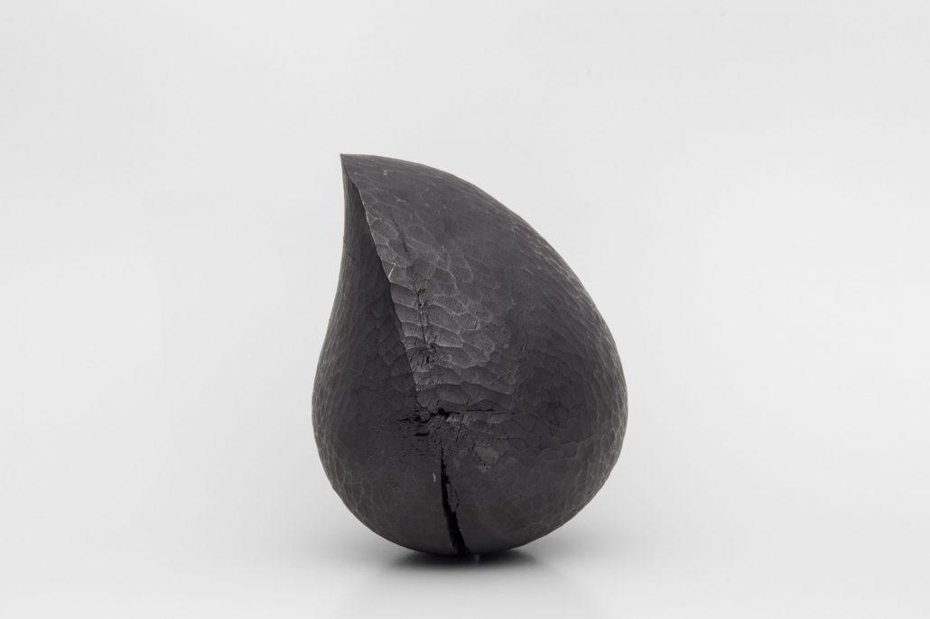 Claire de Santa Coloma, Untitled, 2015, chesnut tree and graphite powder, 15 x 13 x 20 cm