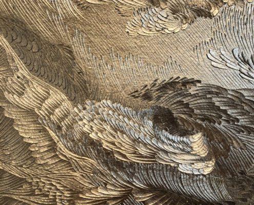Anne Féat Gaiss, Splendor Solis I (détail), découpe et incisions sur feuille de cuivre doré marouflée sur papier indien, 76 x 60 cm