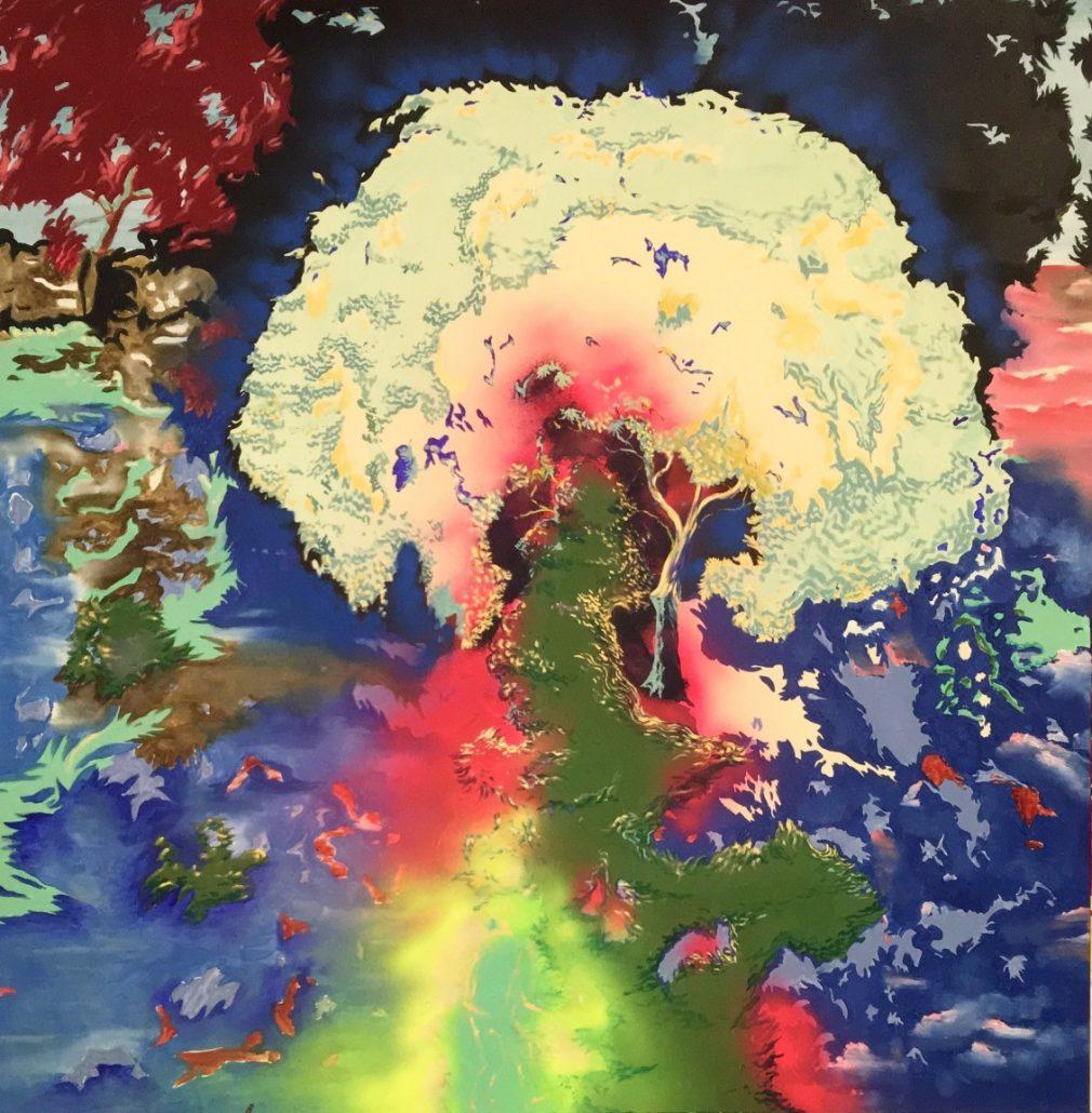 Antoine Carbonne, L'arbre de la connaissance, 2018, huile sur toile, 130 x 130 cm