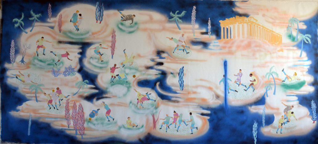Antoine Carbonne, Paradis des joueurs, 2018, Huile sur toile, 200 x 446 cm